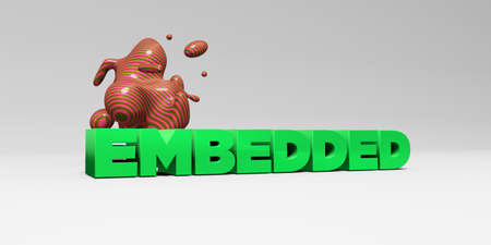 embedded: EMBEDDED - 3D rendered colorful headline illustration.  Can be used for an online banner ad or a print postcard.