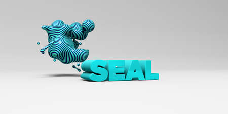 sentence typescript: SEAL - 3D rendered colorful headline illustration.  Can be used for an online banner ad or a print postcard.