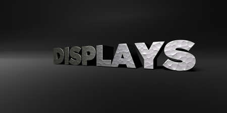displays: DISPLAYS - hammered metal finish text on black studio - 3D rendered royalty free stock photo. This image can be used for an online website banner ad or a print postcard. Stock Photo
