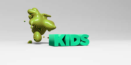 KIDS - 3D rendered colorful headline illustration.  Can be used for an online banner ad or a print postcard.