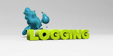 logging: LOGGING - 3D rendered colorful headline illustration.  Can be used for an online banner ad or a print postcard.