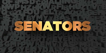 senators: Senators - Gold text on black background - 3D rendered royalty free stock picture. This image can be used for an online website banner ad or a print postcard. Stock Photo