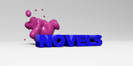 NOVELS - 3D rendered colorful headline illustration.  Can be used for an online banner ad or a print postcard. Stock Photo