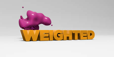 weighted: WEIGHTED - 3D rendered colorful headline illustration.  Can be used for an online banner ad or a print postcard. Stock Photo