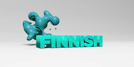 finnish: FINNISH - 3D rendered colorful headline illustration.  Can be used for an online banner ad or a print postcard.