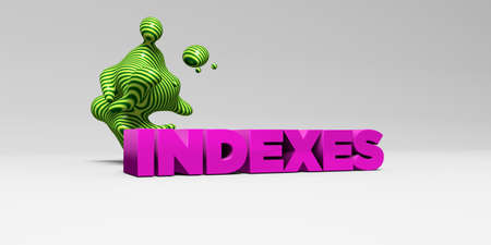 INDEXES - 3D rendered colorful headline illustration.  Can be used for an online banner ad or a print postcard.