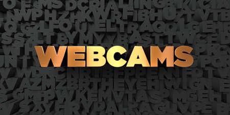 Webcams - Texto del oro sobre fondo negro - 3D representa la imagen de stock libres de derechos. Esta imagen se puede utilizar para un anuncio bandera del Web site en línea o una postal de impresión. Foto de archivo - 67496280