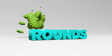 rounds: ROUNDS - 3D rendered colorful headline illustration.  Can be used for an online banner ad or a print postcard.
