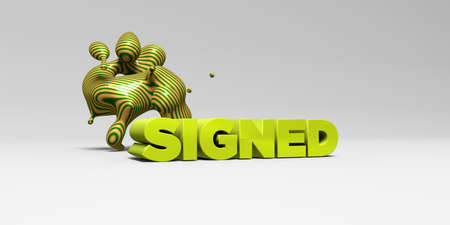 signed: SIGNED - 3D rendered colorful headline illustration.  Can be used for an online banner ad or a print postcard.