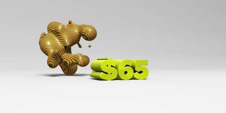 $65 - 3D rendered colorful headline illustration.  Can be used for an online banner ad or a print postcard.