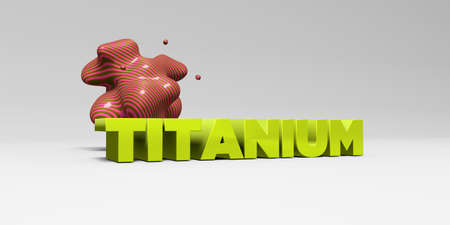 titanium: TITANIUM - 3D rendered colorful headline illustration.  Can be used for an online banner ad or a print postcard. Stock Photo
