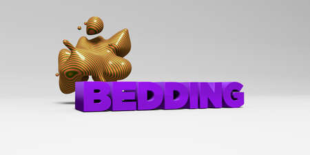 bedding: BEDDING - 3D rendered colorful headline illustration.  Can be used for an online banner ad or a print postcard.