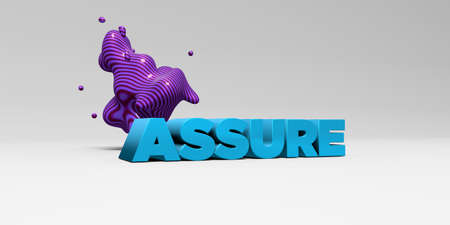 assure: ASSURE - 3D rendered colorful headline illustration.  Can be used for an online banner ad or a print postcard.