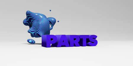 PARTS - 3D rendered colorful headline illustration.  Can be used for an online banner ad or a print postcard. Stock Photo