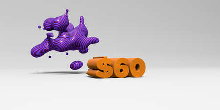 $60 - 3D rendered colorful headline illustration.  Can be used for an online banner ad or a print postcard.