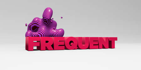 FREQUENT - 3D rendered colorful headline illustration.  Can be used for an online banner ad or a print postcard. Stock Photo