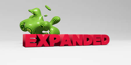 expanded: EXPANDED - 3D rendered colorful headline illustration.  Can be used for an online banner ad or a print postcard. Stock Photo