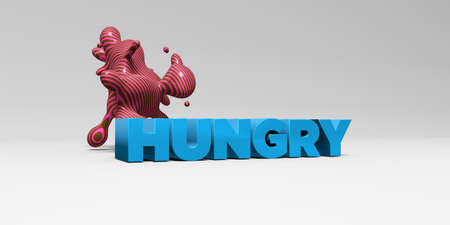 sentence typescript: HUNGRY - 3D rendered colorful headline illustration.  Can be used for an online banner ad or a print postcard.