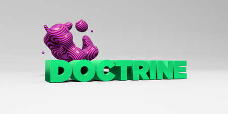 banner ad: DOCTRINE - 3D rendered colorful headline illustration.  Can be used for an online banner ad or a print postcard.
