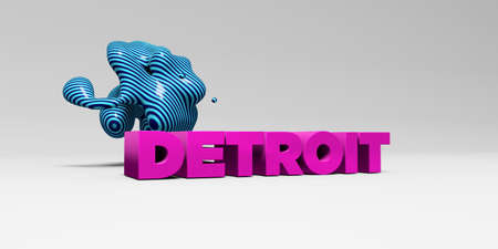 detroit: DETROIT - 3D rendered colorful headline illustration.  Can be used for an online banner ad or a print postcard. Stock Photo