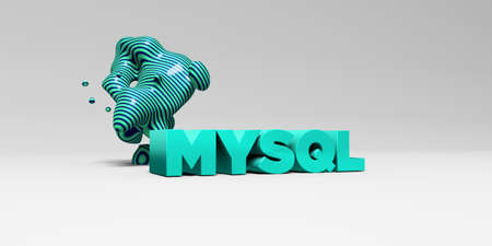 mysql: MYSQL - 3D rendered colorful headline illustration.  Can be used for an online banner ad or a print postcard.