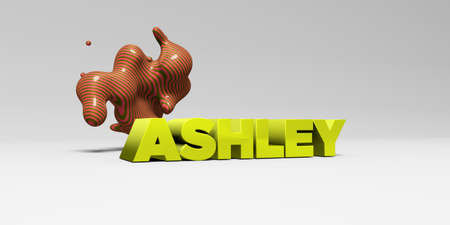ASHLEY - 3D rendered colorful headline illustration.  Can be used for an online banner ad or a print postcard.
