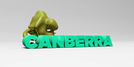 Canberra: CANBERRA - 3D rendered colorful headline illustration.  Can be used for an online banner ad or a print postcard. Stock Photo