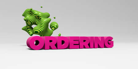 ordering: ORDERING - 3D rendered colorful headline illustration.  Can be used for an online banner ad or a print postcard. Stock Photo