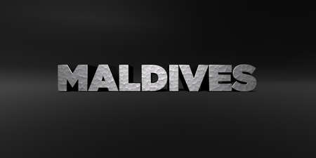 MALDIVES - hammered metal finish text on black studio - 3D rendered royalty free stock photo. This image can be used for an online website banner ad or a print postcard. Imagens