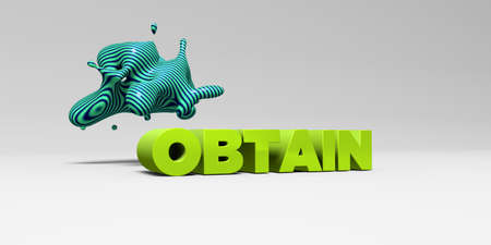 obtain: OBTAIN - 3D rendered colorful headline illustration.  Can be used for an online banner ad or a print postcard.
