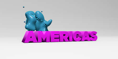 the americas: AMERICAS - 3D rendered colorful headline illustration.  Can be used for an online banner ad or a print postcard. Stock Photo