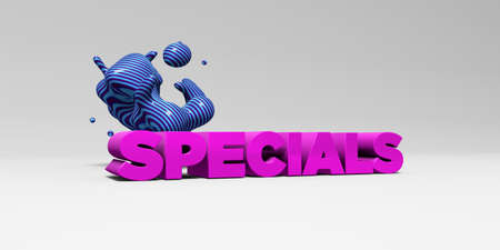 online specials: SPECIALS - 3D rendered colorful headline illustration.  Can be used for an online banner ad or a print postcard. Stock Photo
