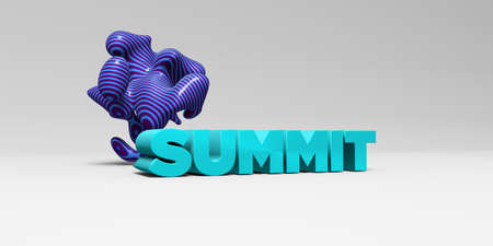 SUMMIT - 3D rendered colorful headline illustration.  Can be used for an online banner ad or a print postcard.