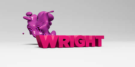 WRIGHT - 3D rendered colorful headline illustration.  Can be used for an online banner ad or a print postcard.