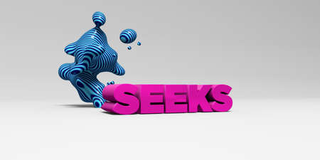 seeks: SEEKS - 3D rendered colorful headline illustration.  Can be used for an online banner ad or a print postcard.
