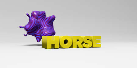 HORSE - 3D rendered colorful headline illustration.  Can be used for an online banner ad or a print postcard. Stock Photo