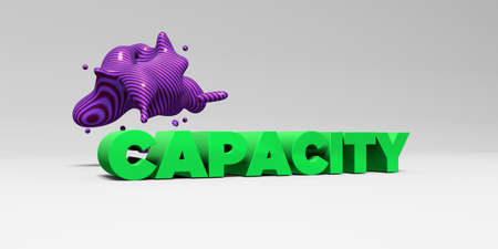 CAPACITY - 3D rendered colorful headline illustration.  Can be used for an online banner ad or a print postcard. Stock Photo