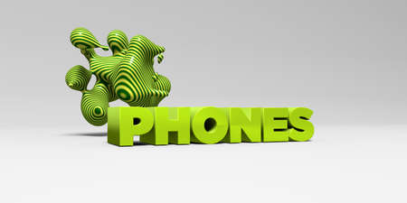 PHONES - 3D rendered colorful headline illustration.  Can be used for an online banner ad or a print postcard.