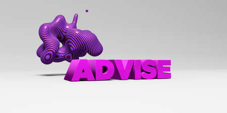 advise: ADVISE - 3D rendered colorful headline illustration.  Can be used for an online banner ad or a print postcard.