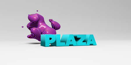 plaza: PLAZA - 3D rendered colorful headline illustration.  Can be used for an online banner ad or a print postcard.