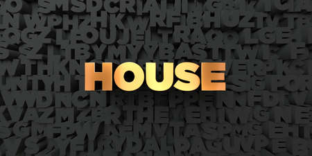 gold house: House - Gold text on black background - 3D rendered royalty free stock picture. This image can be used for an online website banner ad or a print postcard. Stock Photo