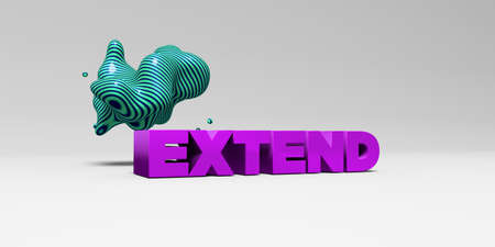 banner ad: EXTEND - 3D rendered colorful headline illustration.  Can be used for an online banner ad or a print postcard. Stock Photo