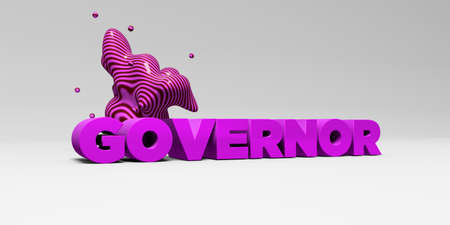 governor: GOVERNOR - 3D rendered colorful headline illustration.  Can be used for an online banner ad or a print postcard.