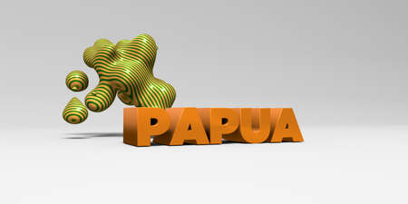 PAPUA - 3D rendered colorful headline illustration.  Can be used for an online banner ad or a print postcard.
