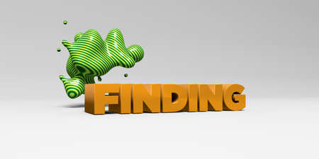 finding: FINDING - 3D rendered colorful headline illustration.  Can be used for an online banner ad or a print postcard.