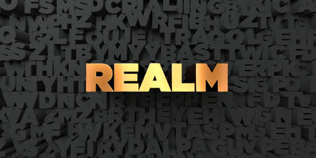 realm: Realm - Gold text on black background - 3D rendered royalty free stock picture. This image can be used for an online website banner ad or a print postcard. Stock Photo