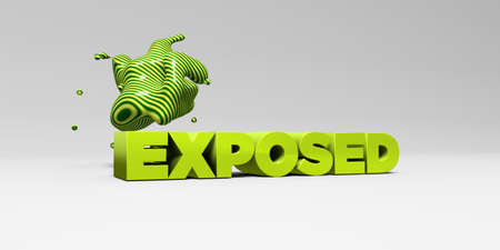 exposed: EXPOSED - 3D rendered colorful headline illustration.  Can be used for an online banner ad or a print postcard.