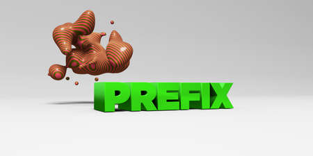 PREFIX - 3D rendered colorful headline illustration.  Can be used for an online banner ad or a print postcard. Stock Photo
