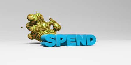spend: SPEND - 3D rendered colorful headline illustration.  Can be used for an online banner ad or a print postcard. Stock Photo