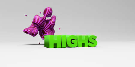 highs: HIGHS - 3D rendered colorful headline illustration.  Can be used for an online banner ad or a print postcard.